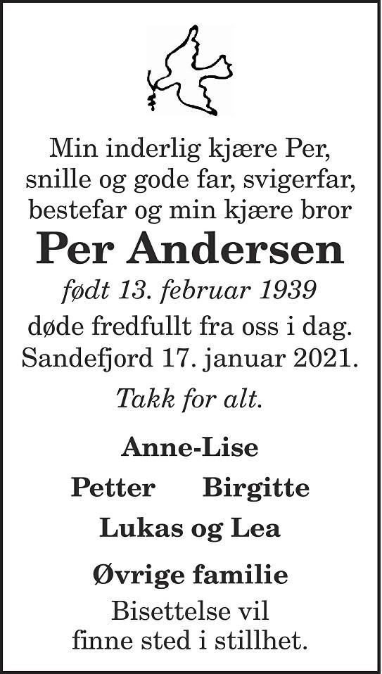 Per Andersen Dødsannonse