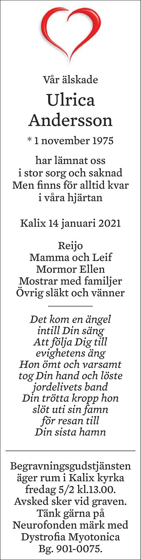 Christina Ulrica Andersson Death notice
