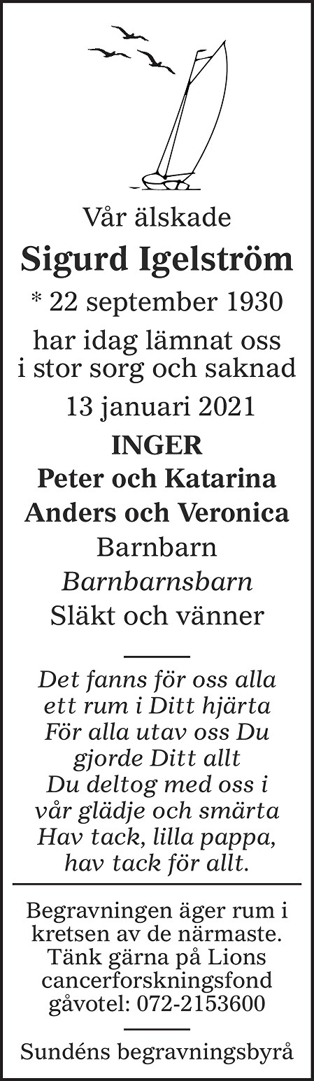 Sigurd Igelström Death notice