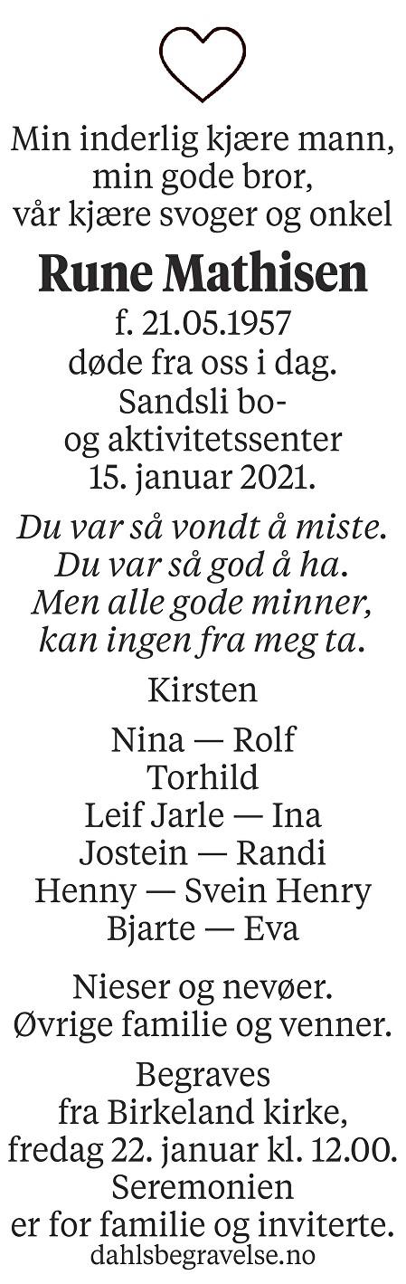 Rune Mathisen Dødsannonse