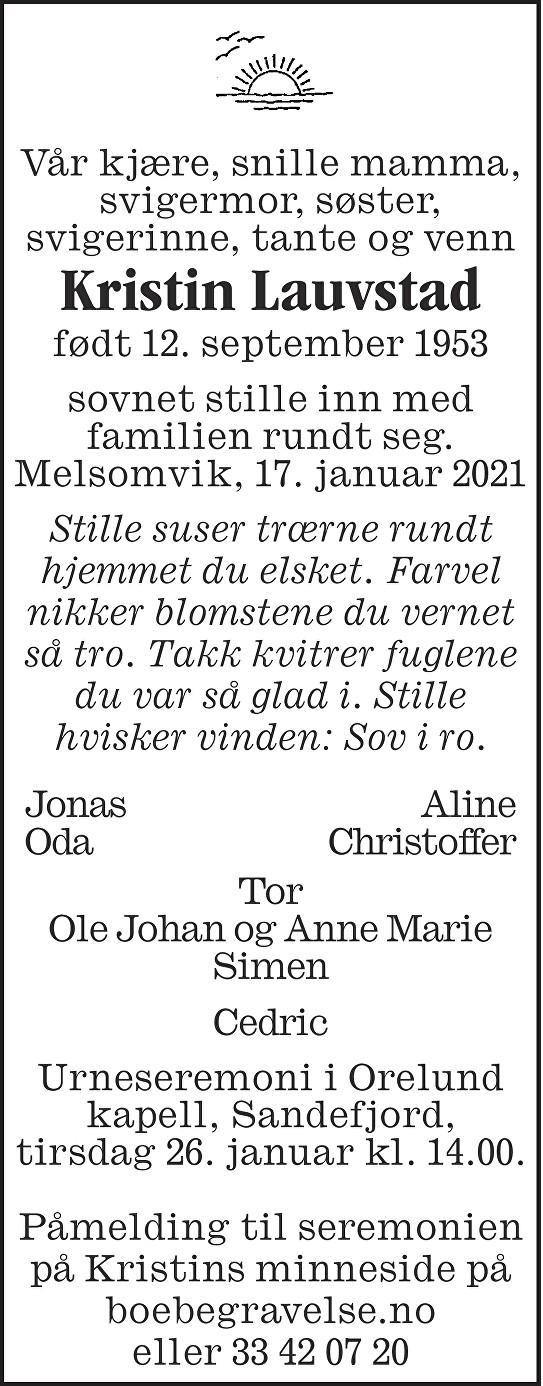 Kristin Lauvstad Dødsannonse