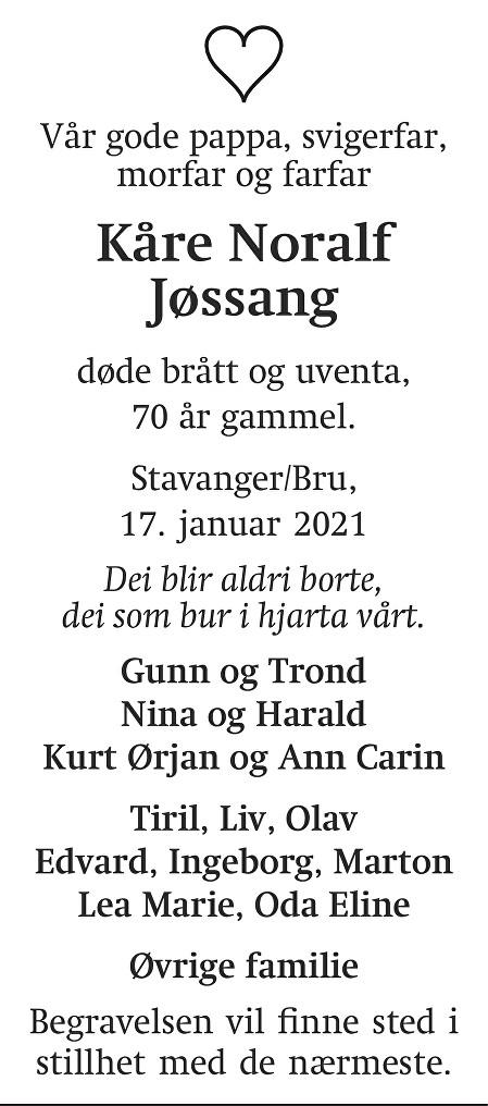 Kåre Noralf Jøssang Dødsannonse