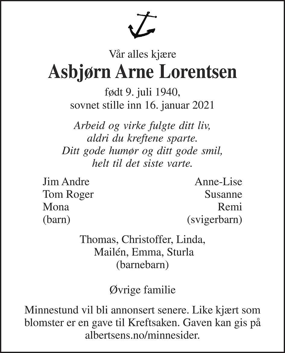 Asbjørn Arne Lorentsen Dødsannonse