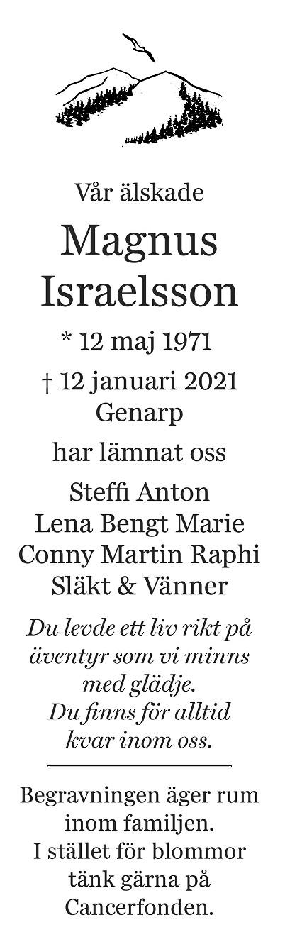 Magnus Israelsson Death notice