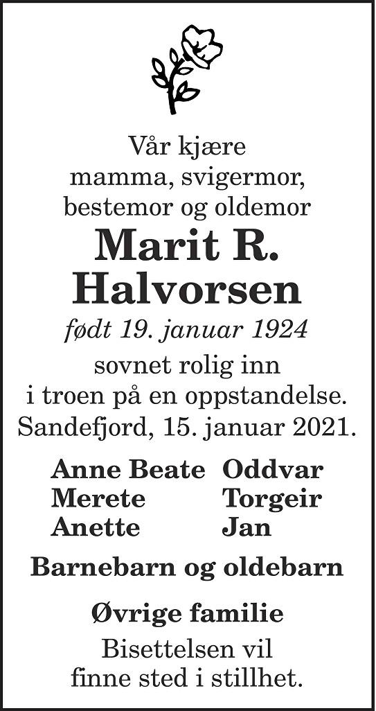 Marit R. Halvorsen Dødsannonse