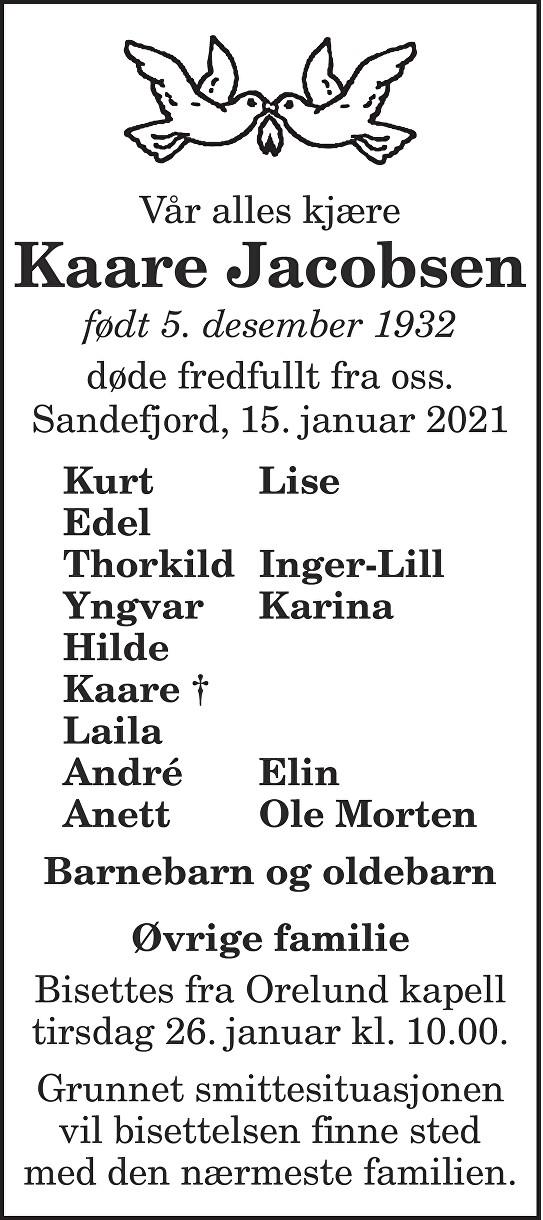 Kaare  Jacobsen Dødsannonse
