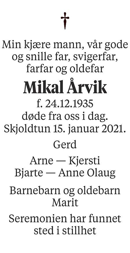 Mikal Årvik Dødsannonse