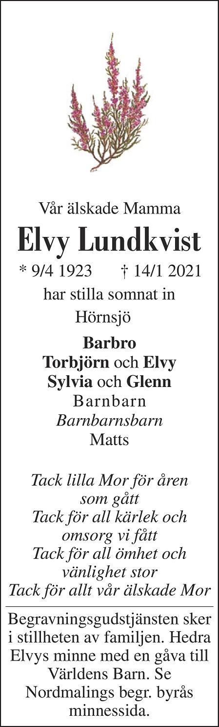 Elvy Lundkvist Death notice