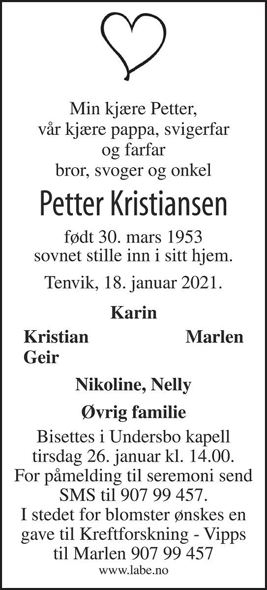 Petter Kristiansen Dødsannonse