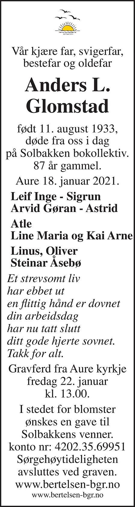 Anders L. Glomstad Dødsannonse