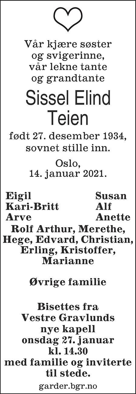 Sissel Anne-Marie Elind Teien Dødsannonse