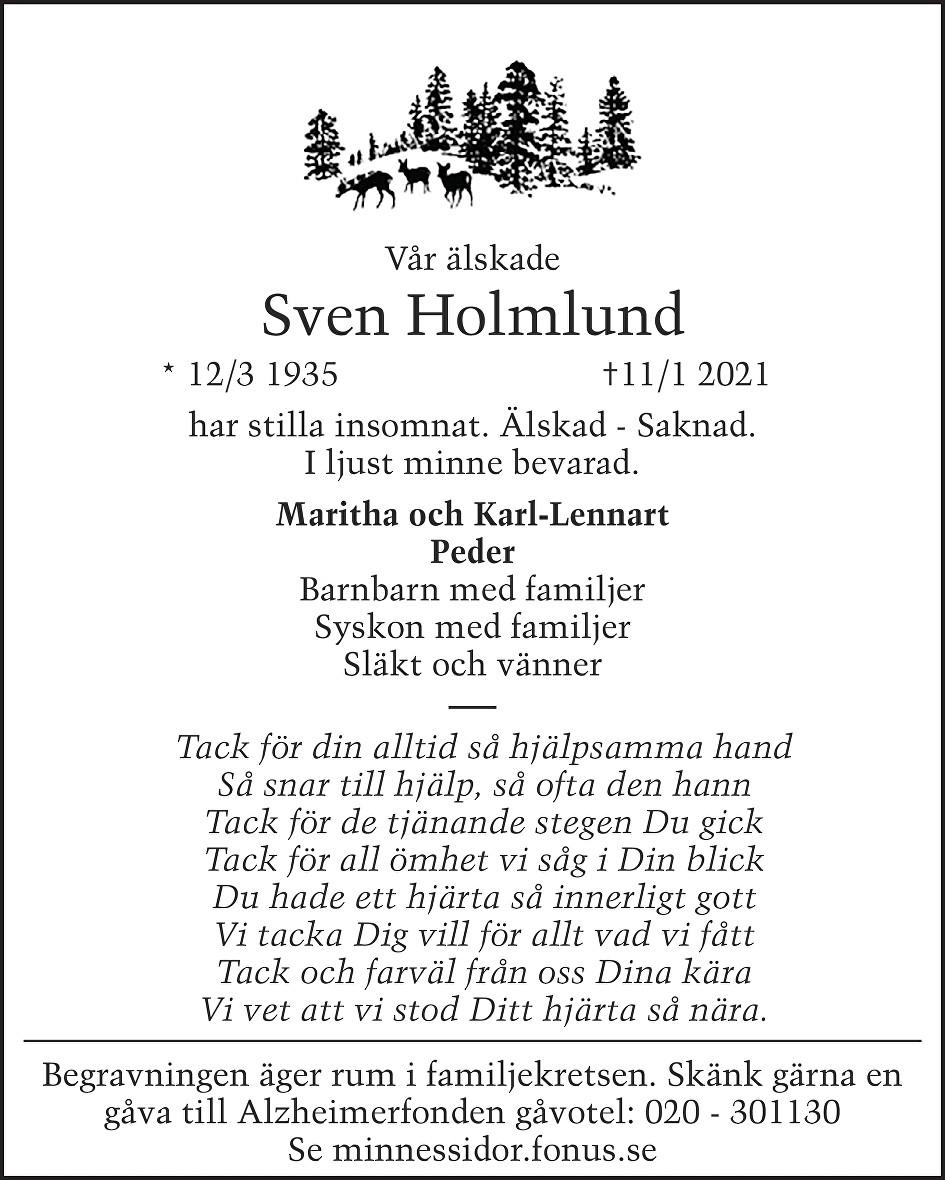 Sven Holmlund Death notice