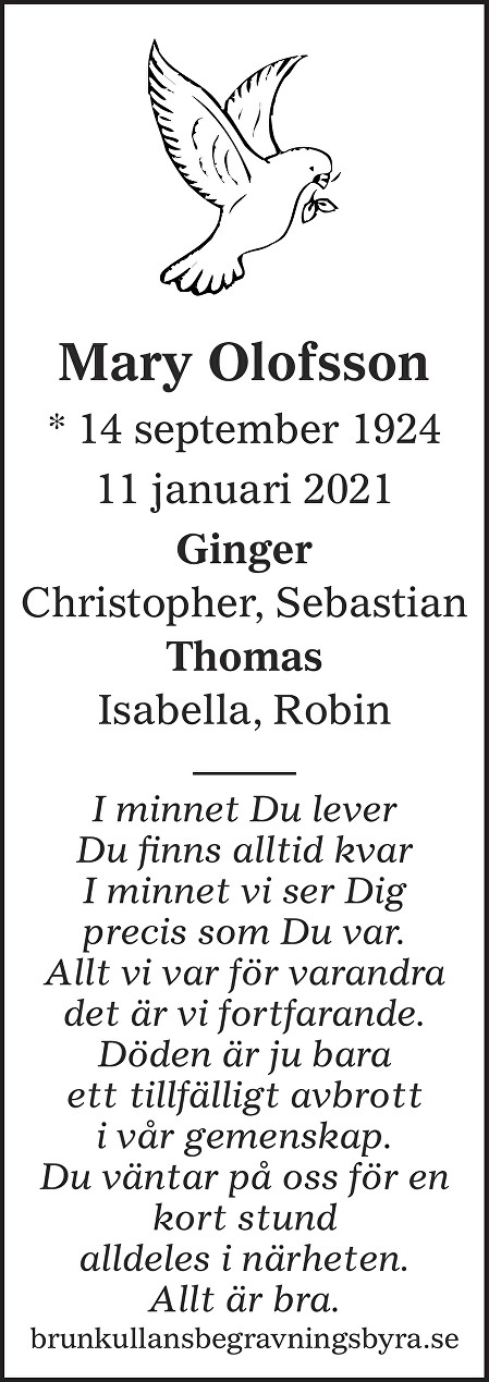 Mary Olofsson Death notice