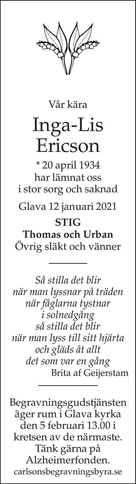 Inga-Lis Eriksson Death notice