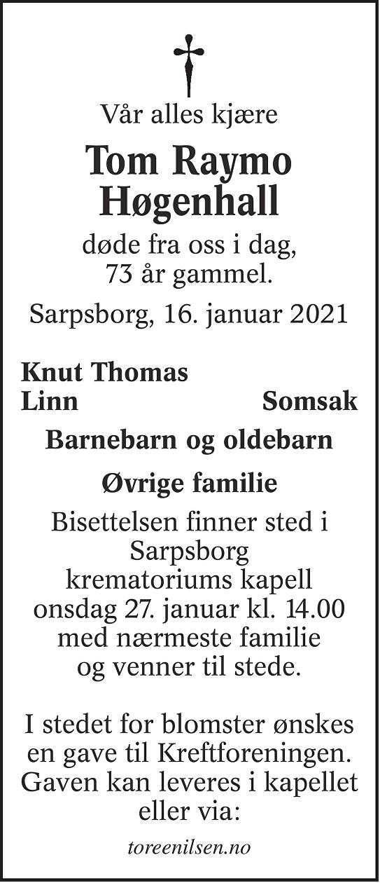 Tom Raymo Høgenhall Dødsannonse