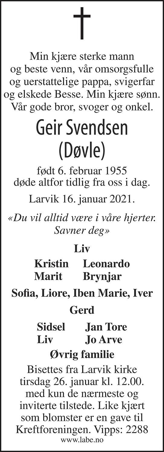 Geir Svendsen Dødsannonse