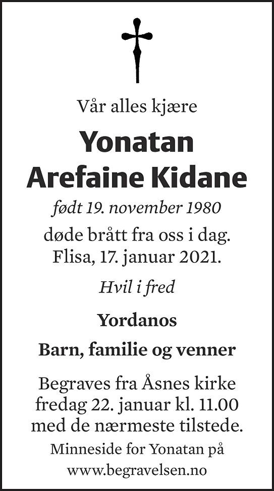 Yonatan Arefaine Kidane Dødsannonse