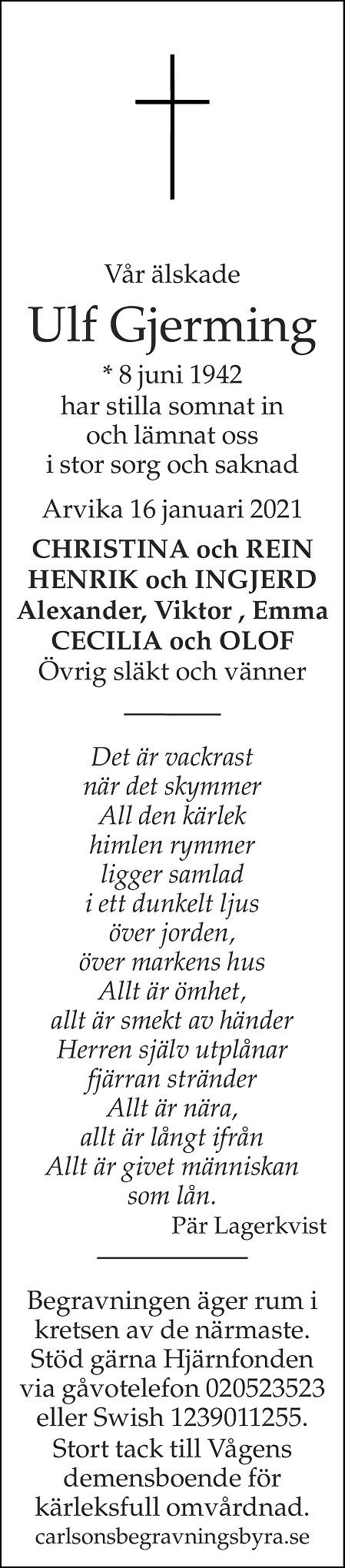 Ulf Gjerming Death notice