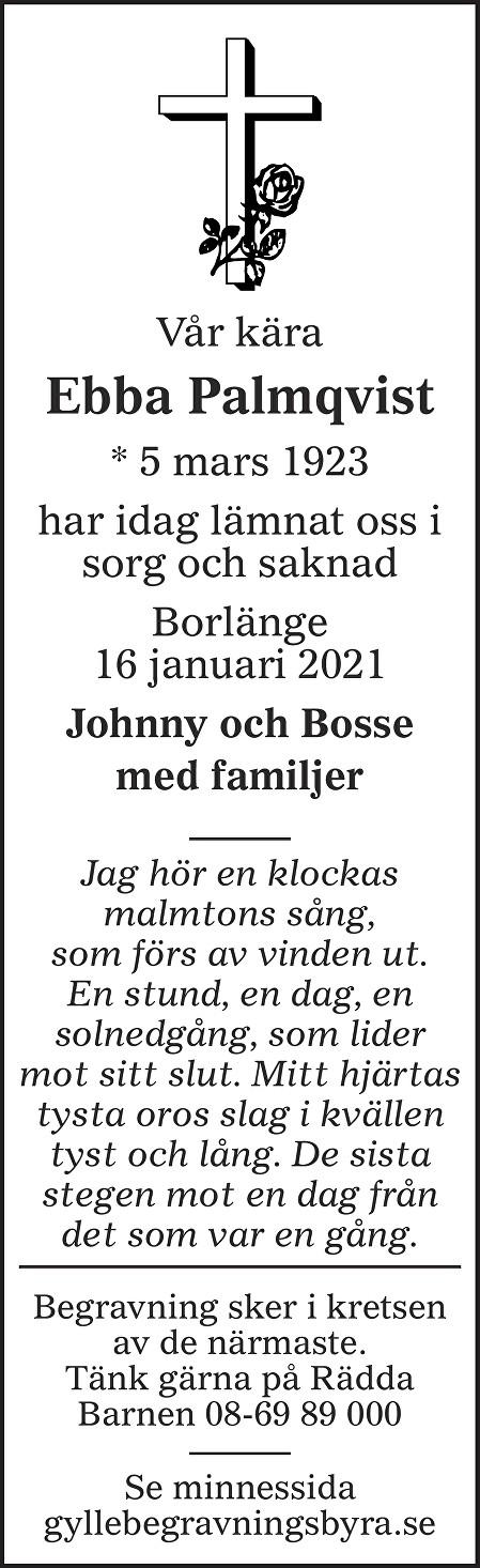 Ebba  Palmqvist Death notice