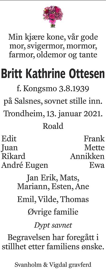 Britt Kathrine Ottesen Dødsannonse