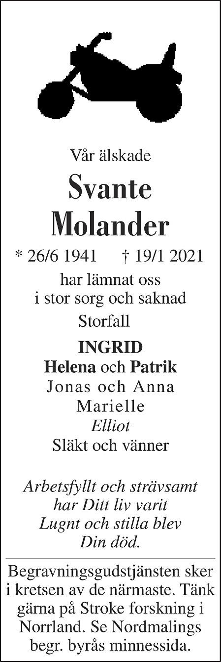 Svante Molander Death notice