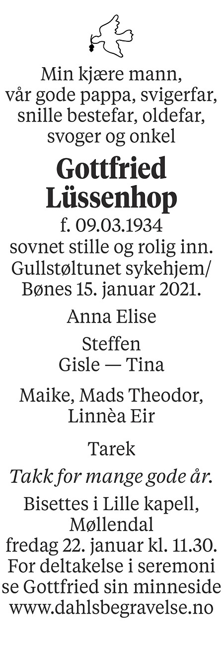 Gottfried Lüssenhop Dødsannonse