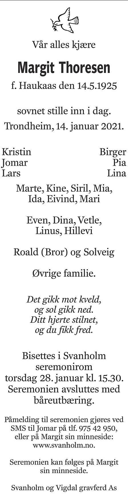 Margit Thoresen Dødsannonse