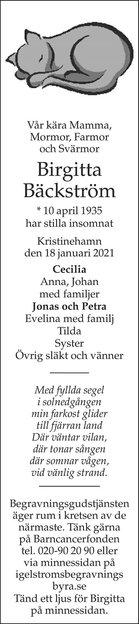 Birgitta Bäckström Death notice