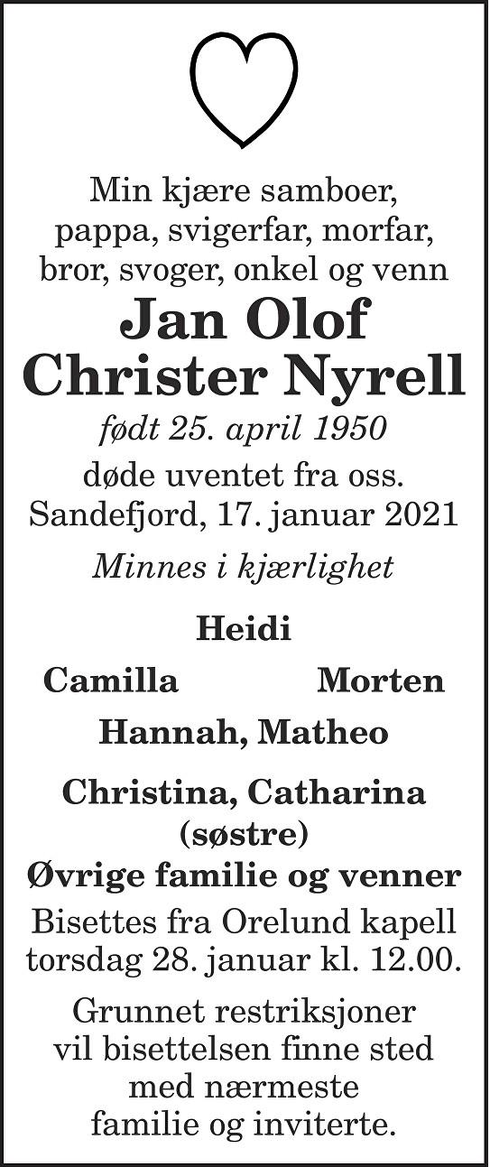 Jan Olof Christer Nyrell Dødsannonse