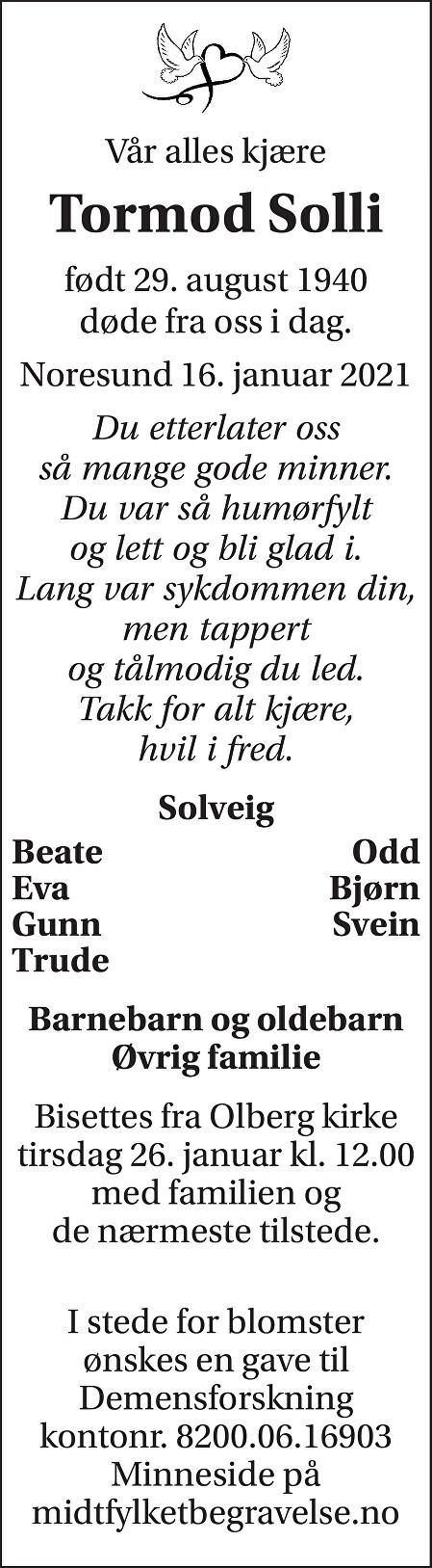 Tormod Solli Dødsannonse