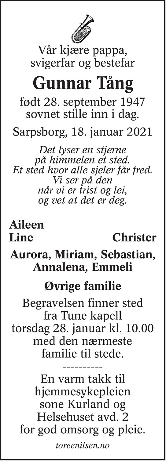 Gunnar Tång Dødsannonse