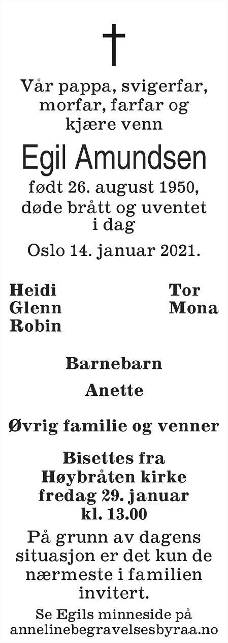 Egil  Amundsen Dødsannonse