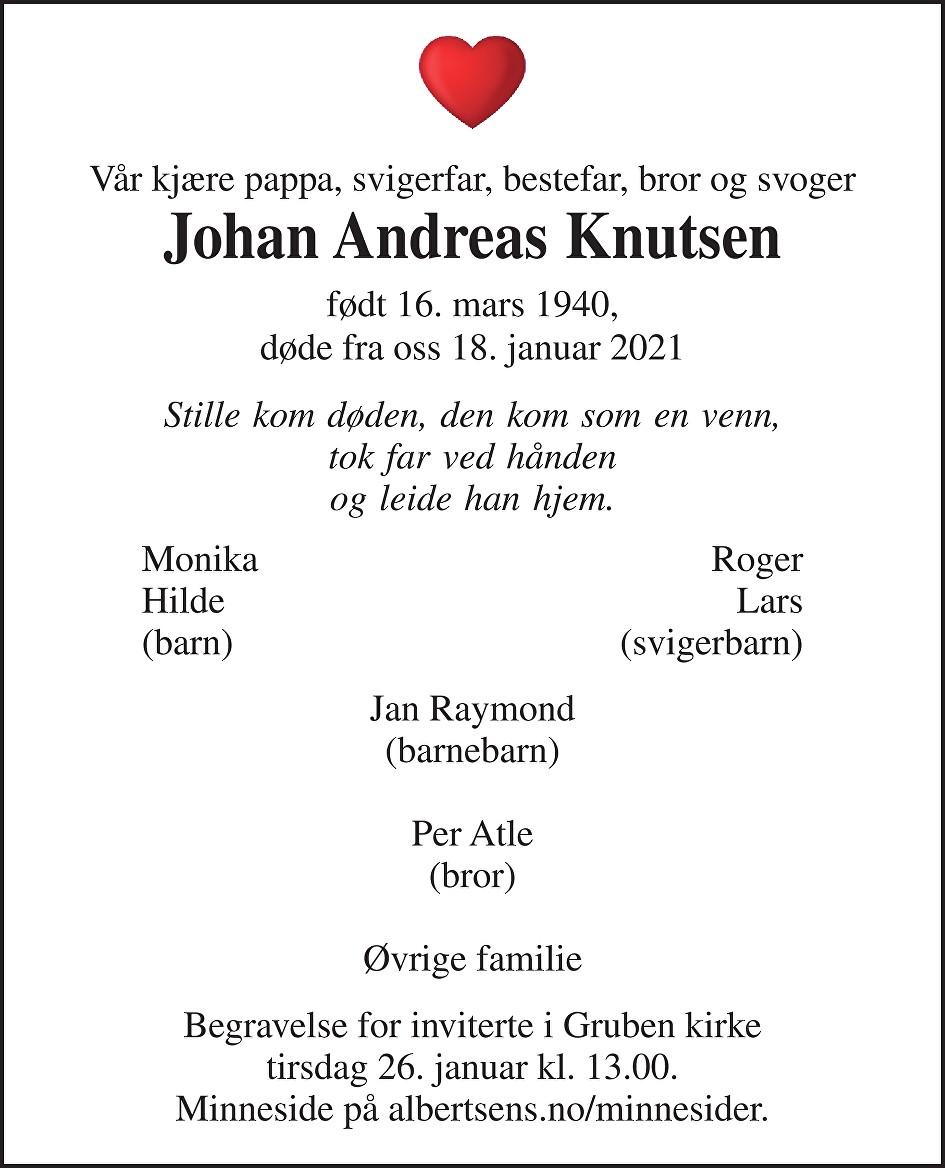 Johan Andreas Knutsen Dødsannonse