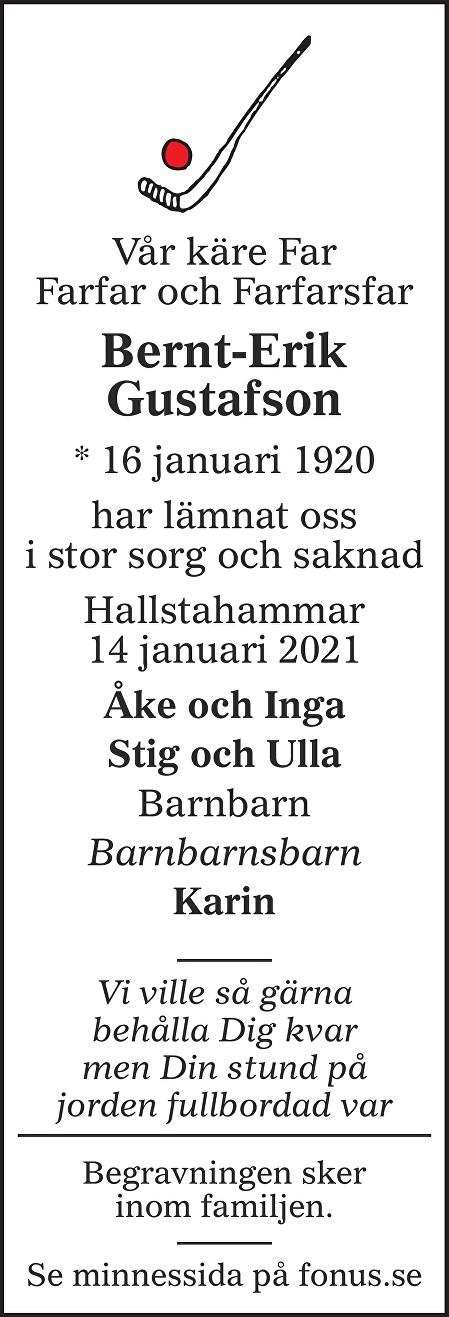 Bernt-Erik Gustafson Death notice