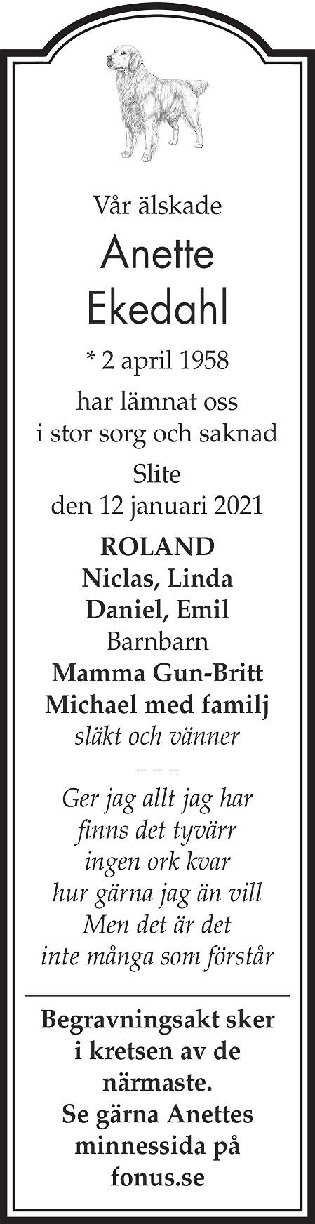 Anette Ekedahl Death notice