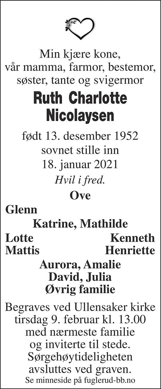 Ruth Charlotte Nicolaysen Dødsannonse