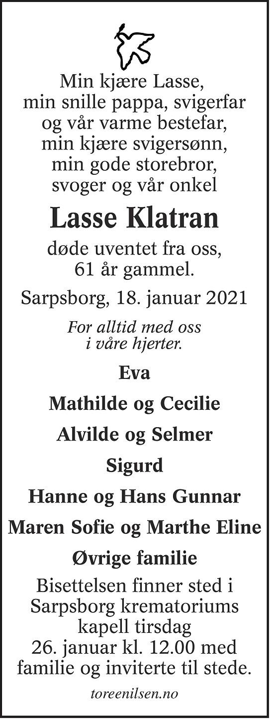 Lasse Erik Klatran Dødsannonse