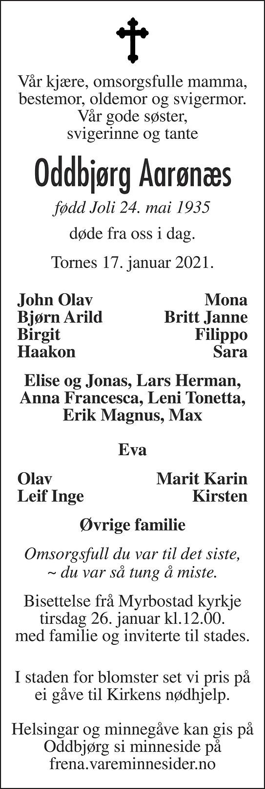 Oddbjørg Aarønæs Dødsannonse