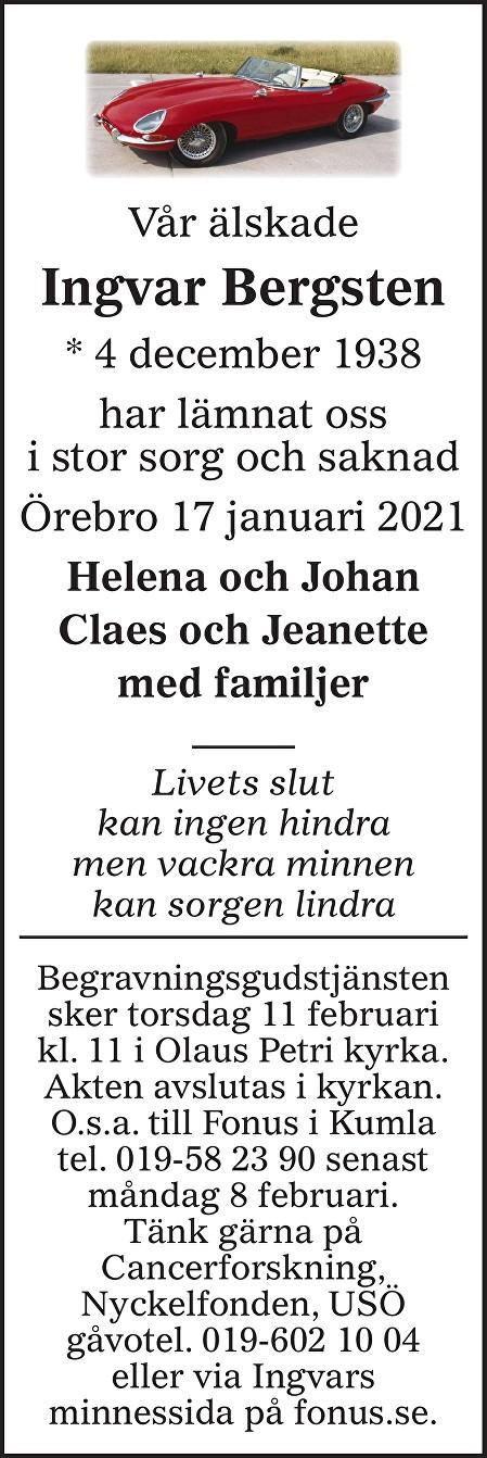 Ingvar Bergsten Death notice
