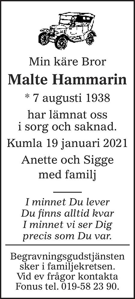 Malte Hammarin Death notice