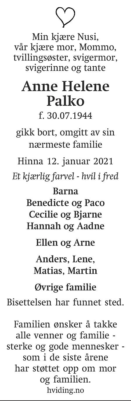 Anne Helene Palko Dødsannonse