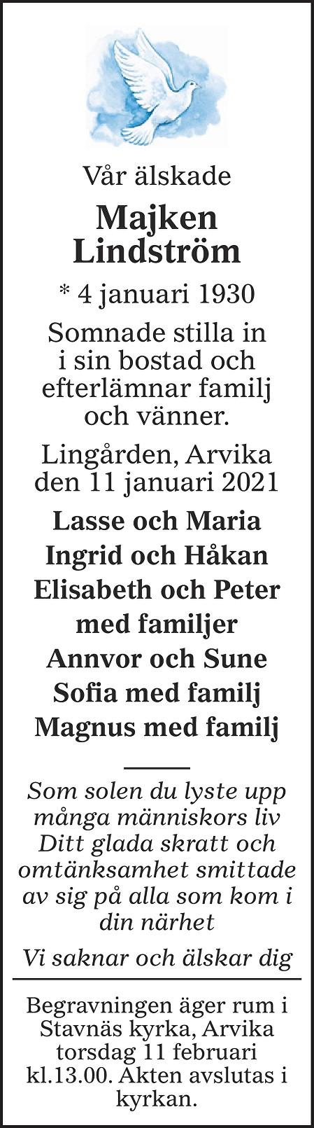 Majken Lindström Death notice
