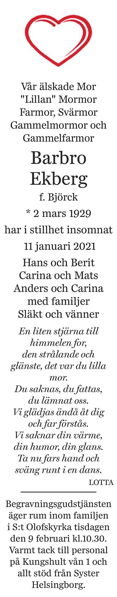 Barbro Ekberg Death notice