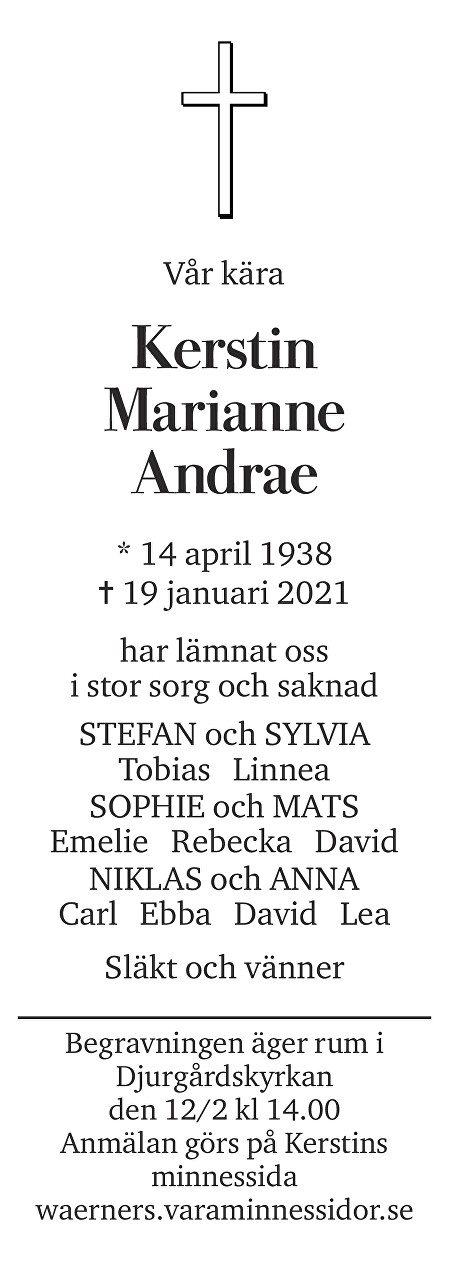 Kerstin Marianne Andrae Death notice