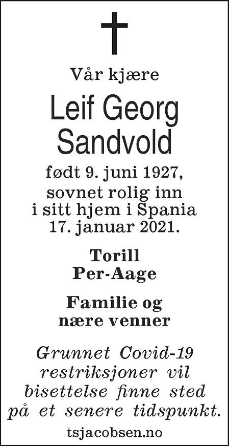 Leif Georg Sandvold Dødsannonse