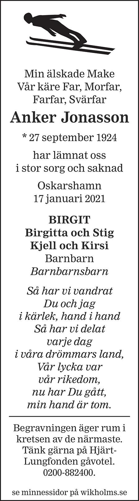 Anker Jonasson Death notice