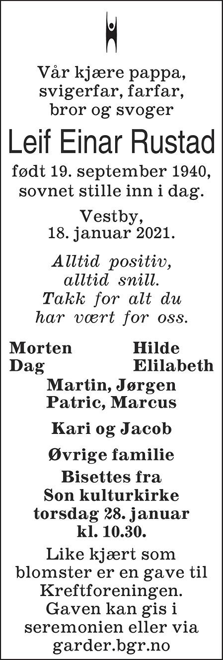 Leif Einar Rustad Dødsannonse