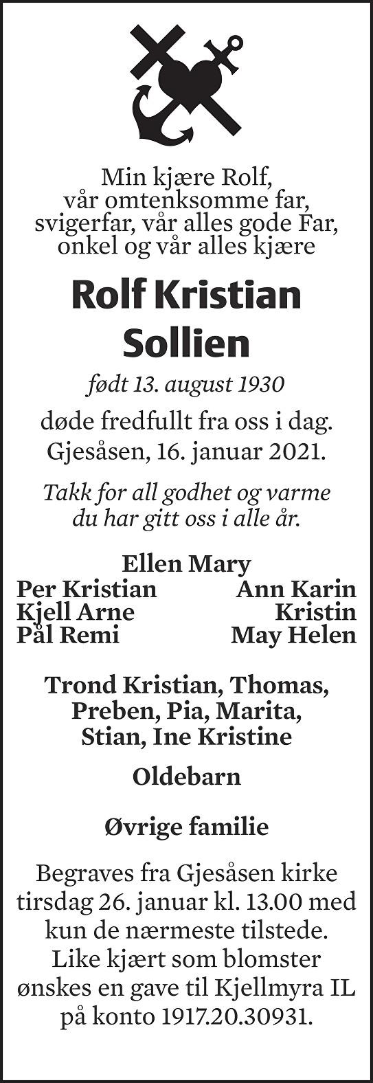 Rolf Kristian Sollien Dødsannonse