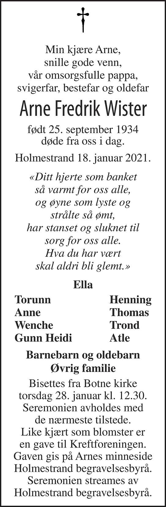 Arne Fredrik Wister Dødsannonse