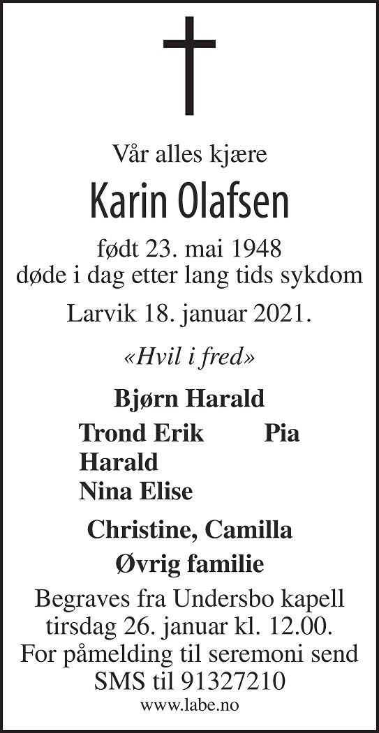 Karin Olafsen Dødsannonse
